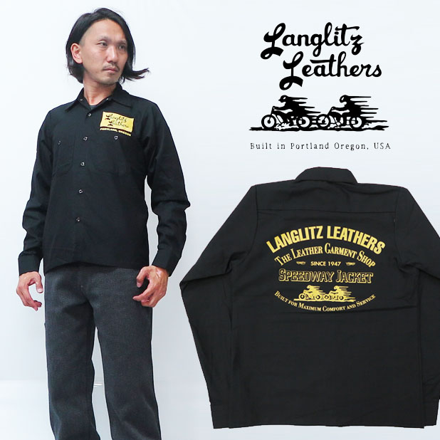 メンズ アメリカ製 送料無料 代引き手数料無料 ブラック グリーン S M L ラングリッツレザーズ Langlitz Leathers 長袖 プリント ワークシャツ LL272