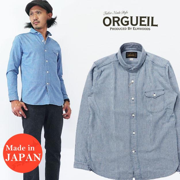 ORGUEIL オルゲイユ インディゴチェック 長袖 ショールカラー シャツ グラフチェック ハウンドトゥース 千鳥格子 OR-5007F