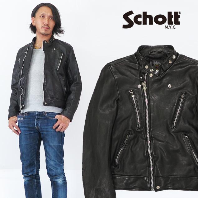 ショット Schott シープスキン ライダースジャケット ユーズド加工 ウォッシュ加工 マンダリンカラー レザー 羊 革 3181067