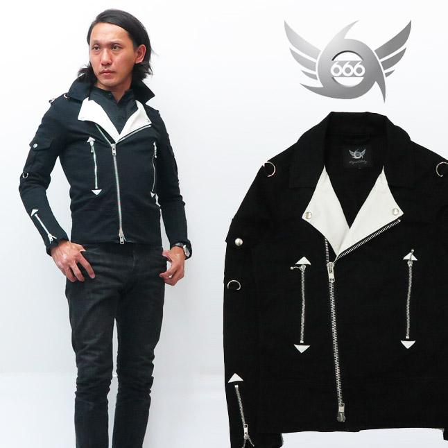666 ストレッチコットン ライダースジャケット クラッシュモデル ブラック×ホワイト SOJ133 トリプルシックス