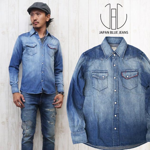 JAPAN BLUE JEANS ジャパンブルージーンズ 長袖 デニム ウエスタンシャツ 8oz ユーズド加工 ワークシャツ JBSH01