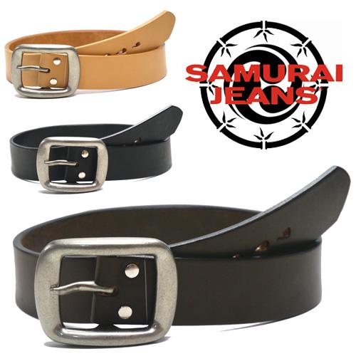 驚異的な厚みと圧巻の重量感 サムライジーンズ SAMURAI JEANS メーカー在庫限り品 新商品!新型 U.S レザー 5ミリ厚 ベルト 真鍮 バックル