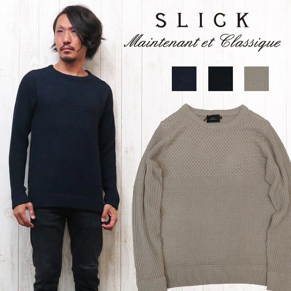 スリック SLICK ブロックパターン コットンニット クルーネック セーター 5156107:アースマーケット