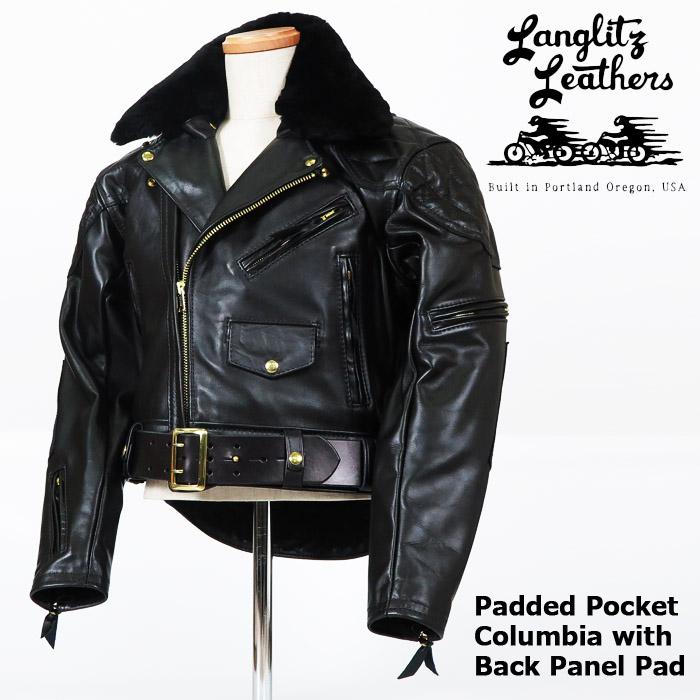 ラングリッツレザーズ Langlitz Leathers レザーライダースジャケット Padded Pocket Columbia with Fur & Back Panel Pad パッテッド ポケット コロンビア ウィズ ファー バックパネルパッド