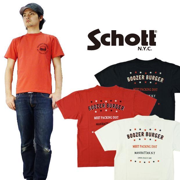 ショット Schott プリント半袖Tシャツ「BOOZER URGER」