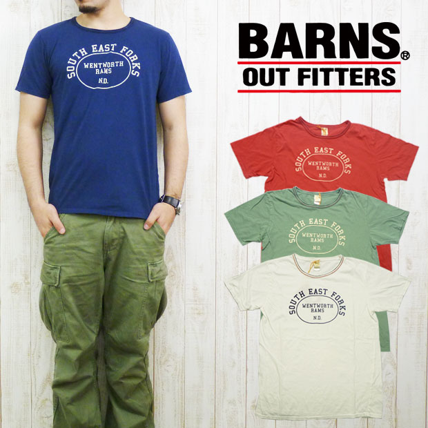 バーンズ BARNS Tシャツ 天竺 プリント 「SOUTH EAST FORKS」