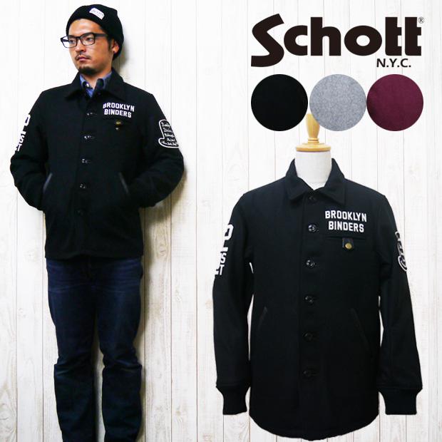 ショット Schott ショット メルトン バーシティ ジャケット スタジャン アワードジャケット カーコート VARSITY JACKET BINDERS 3141019