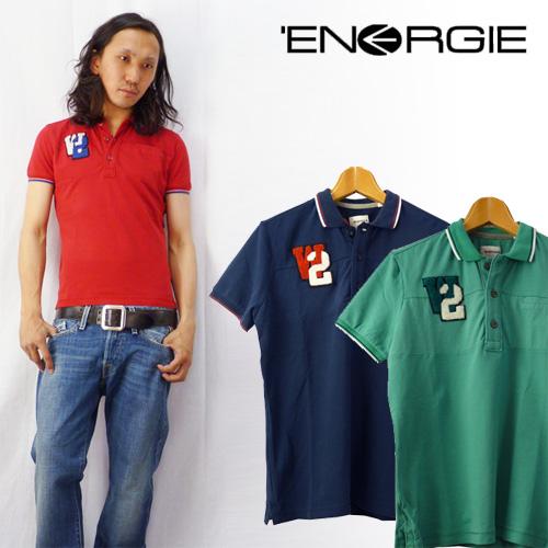 ENERGIE エナジー レタードワッペン半袖鹿の子ポロシャツ
