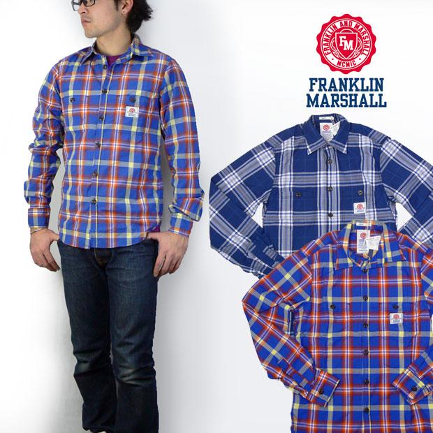 フランクリン マーシャル FRANKLIN&MARSHALL 長袖 チェックシャツ※セール価格につき返品・交換不可