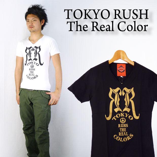 TOKYO RUSH The Real ColorS/SVネック Tシャツ「ロゴマーク」
