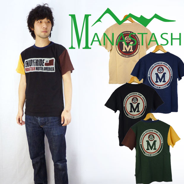 MANASTASH マナスタッシュ RIDEプリント ヘンプ半袖Tシャツ