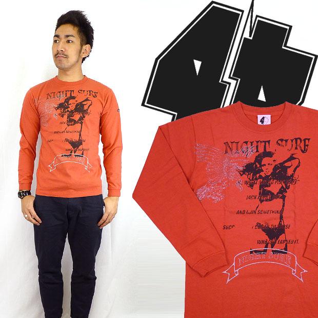 W4 더블 포 절름발이 프린트 긴 소매 T 셔츠 「 NIGHT SURF 」