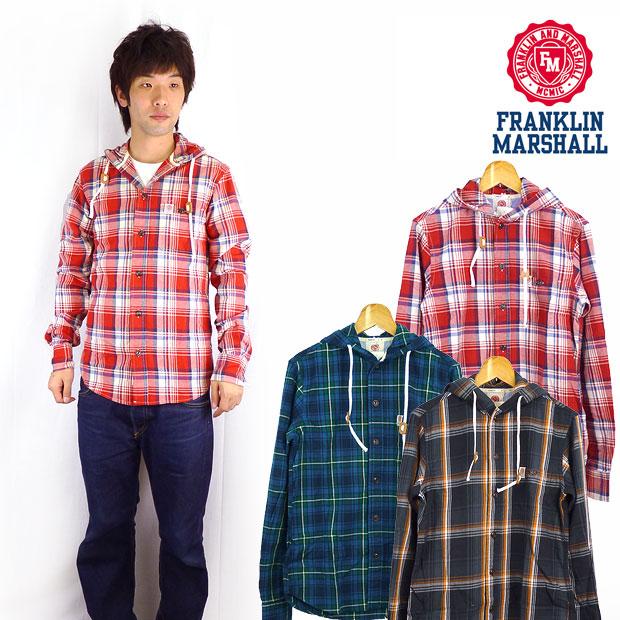 フランクリン マーシャル FRANKLIN&MARSHALL フード付き長袖チェックシャツ※セール価格につき返品・交換不可