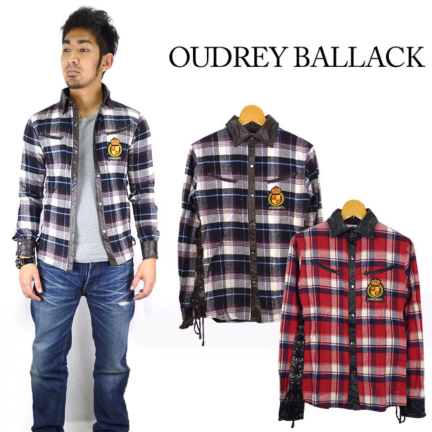 OUDREY BALLACK オードリーバラック ワッペンネルチェックシャツ