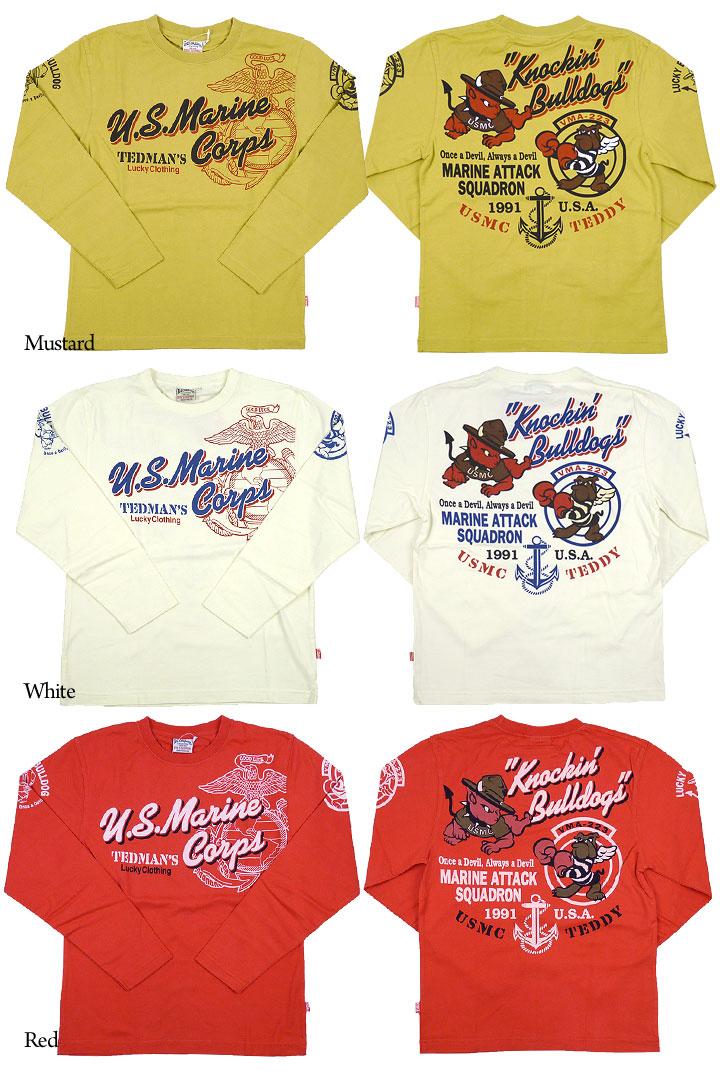 테드만 드 맨 즈 TEDMAN 'S 발 염 프린트 긴 소매 T 셔츠 「 U.S.M.C. 」
