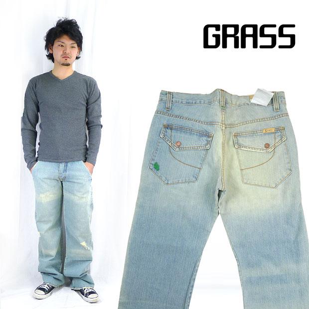 grass グラス ユーズド加工ルーズフレアジーンズ(ジーパン・Gパン・デニム)