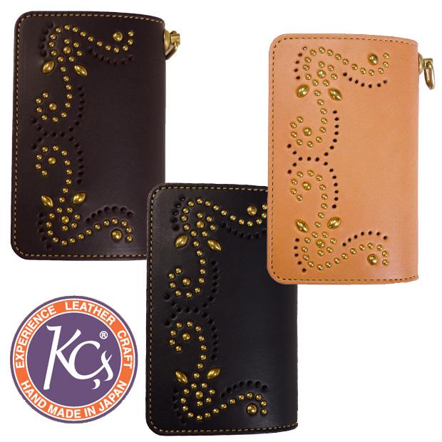 KC'S ケーシーズ 二つ折り 財布 サイフ ウォレット ビルフォールド エレノア ブラス ブローキング スタッズ ロング KIB019