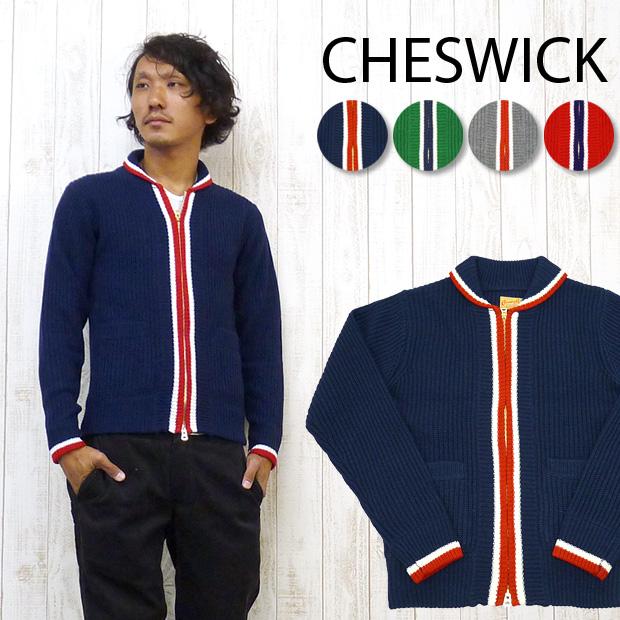 人気のカレッジモチーフのカーディガン♪ チェスウィック Cheswick カーディガン セーター ジップ アップ ウール アクリル カレッジ CH90141