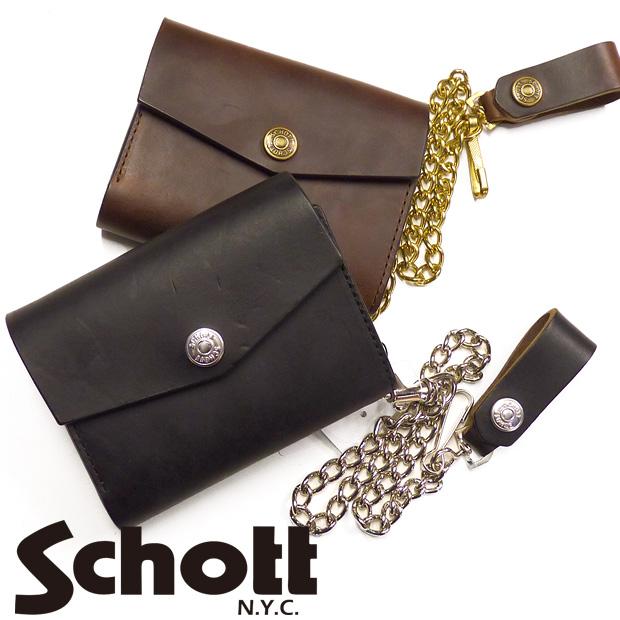 ショット Schott ミドルウォレット 2つ折り財布 レザー メタル チェーン付き