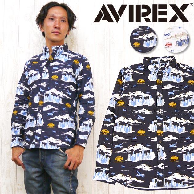 AVIREX アビレックス アヴィレックス シャツ 長袖 ボタンダウン B.D. プリント AWA 総柄 ミリタリー 6145200