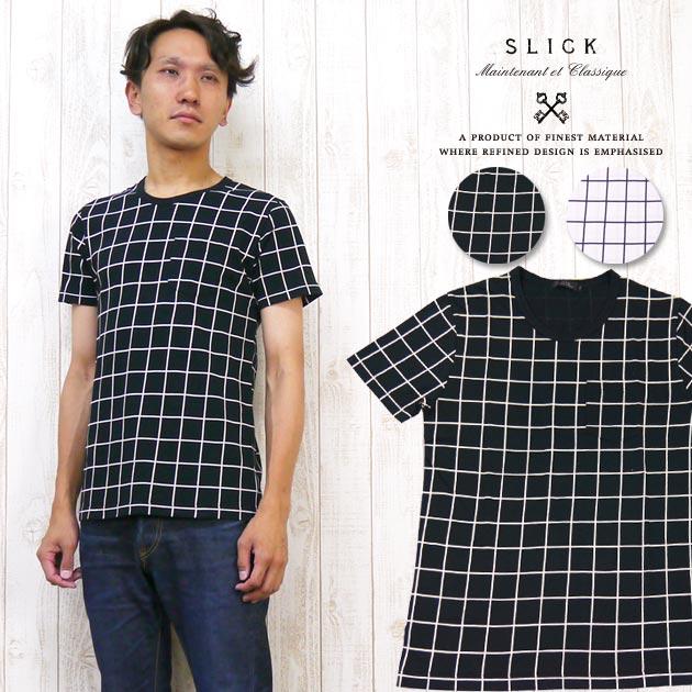 スリック SLICK Tシャツ 半袖 ポケット ウインドウペン チェック プリント 5268643