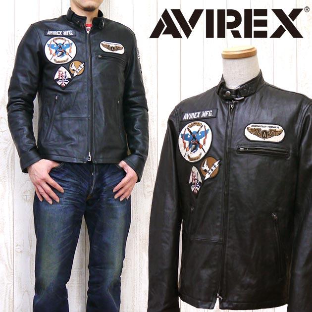AVIREX アビレックス アヴィレックス ジャケット ライダース シングル ラムレザー ラムスキン 革 ワッペン パッチド PATCHED SINGLE RIDERS ミリタリー 6161057