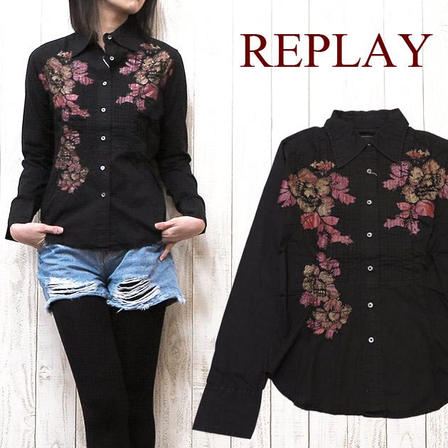 REPLAY リプレイ レディース シャツ 長袖 リメイク rep2212