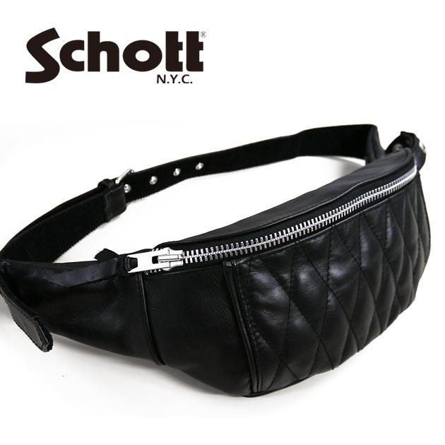 ショット Schott レザー ウエスト メッセンジャー ボディ バッグ クラシック キルティング パッド 3109023