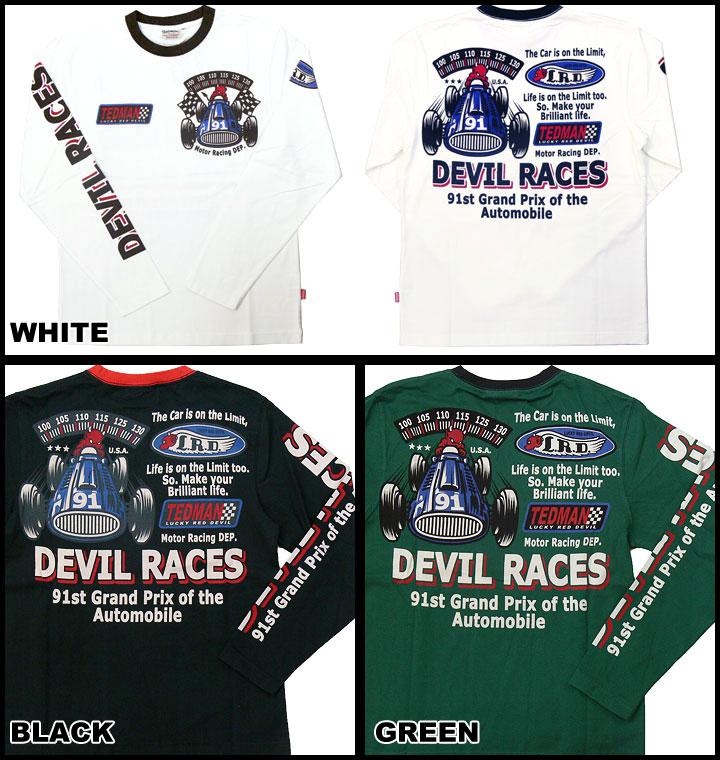 테드만 드 맨 즈 TEDMAN 'S 발 염 프린트 긴 소매 티셔츠 「 DEVIL RACES 」