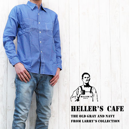 ウェアハウス WAREHOUSE ヘラーズカフェ HELLER`S CAFE ストライプシャツ 長袖 1920's Time Watch Pocket Pinstripe Print Work Shirts O/W