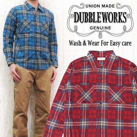 ダブルワークス DUBBLE WORKS フランネルシャツ 長袖 プリントチェック オープンカラー C柄 WW62003-C