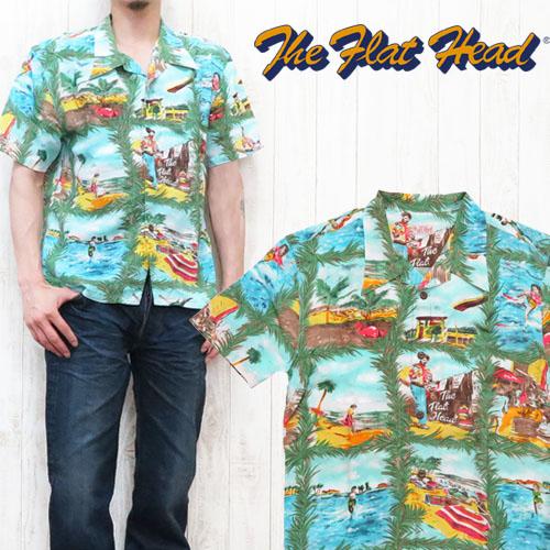 扁头扁头夏威夷衬衫短袖图片模式 Aloha 大小 40.42 F-SHO-001S