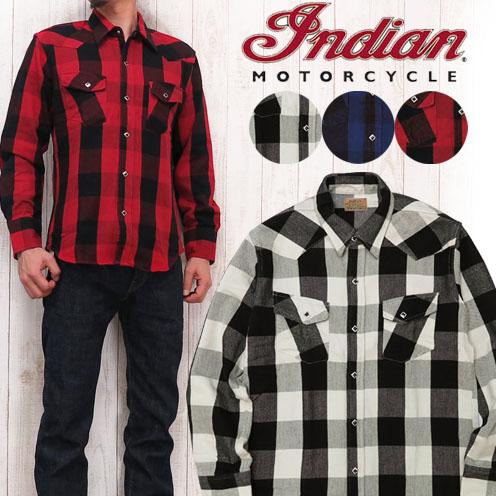 インディアンモーターサイクル Indian Motorcycle シャツ 長袖 ウエスタンシャツ ブロックチェック im27740