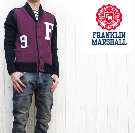フランクリン マーシャル FRANKLIN&MARSHALL カレッジデザインニットカーディガン※セール価格につき返品・交換不可
