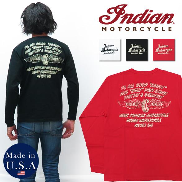 インディアンモーターサイクル Indian Motorcycle 長袖 プリント Tシャツ