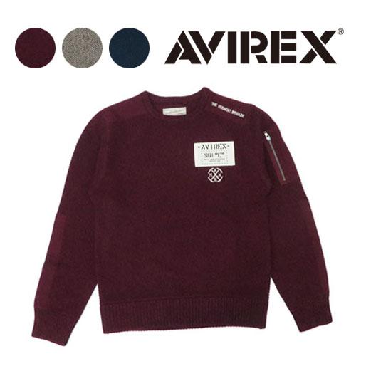 AVIREX アビレックス 長袖 スリーブポケット ミリタリー クルーネック セーター 6194019