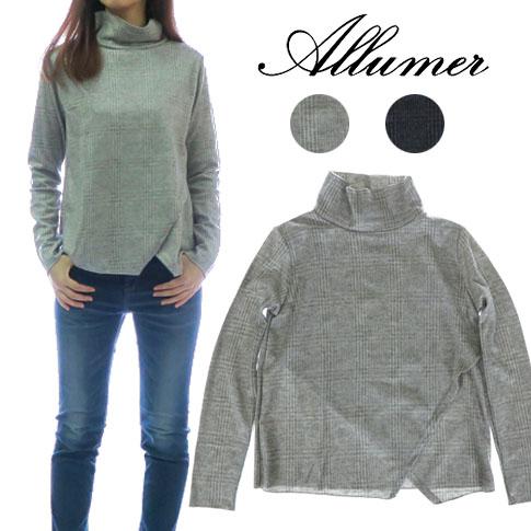 Allumer アリュメール レディース グレンチェック ジャガード タートルネック Tシャツ カットソー 8141976