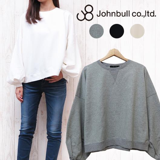 JOHNBULL ジョンブル レディース スウェットT Tシャツ 半袖 オーバーサイズ アスレチックドルマンスリーブ スウェッティー ゆったり ビッグサイズ 無地 ZC296