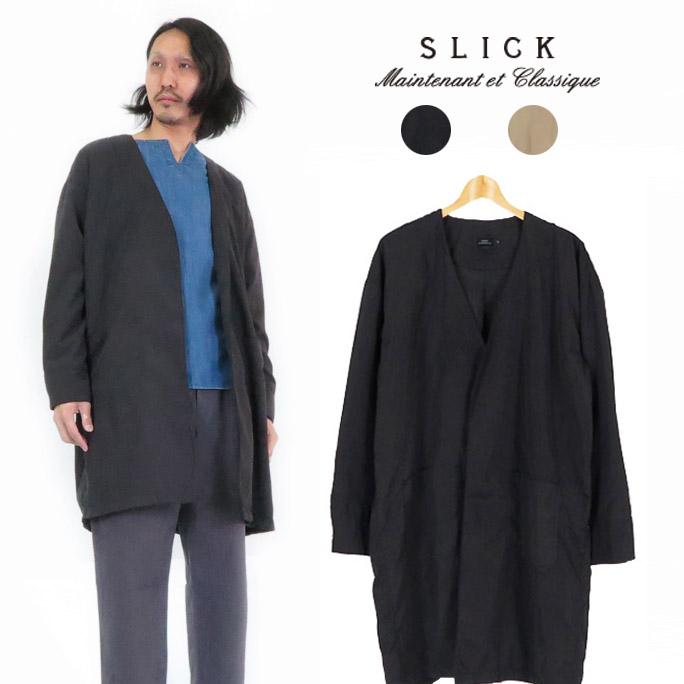 スリック SLICK ピーチツイル ドロップショルダー ノーカラー コート ジャケット SLK5169302