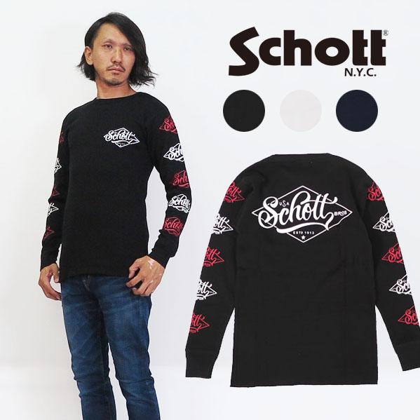 ショット Schott 長袖 ワッフル Tシャツ ロゴ サーマル 3183061