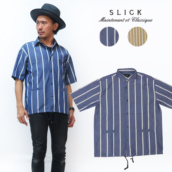 スリック SLICK 半袖 タイプライター シャツ ジャケット ストライプ SLK5255440