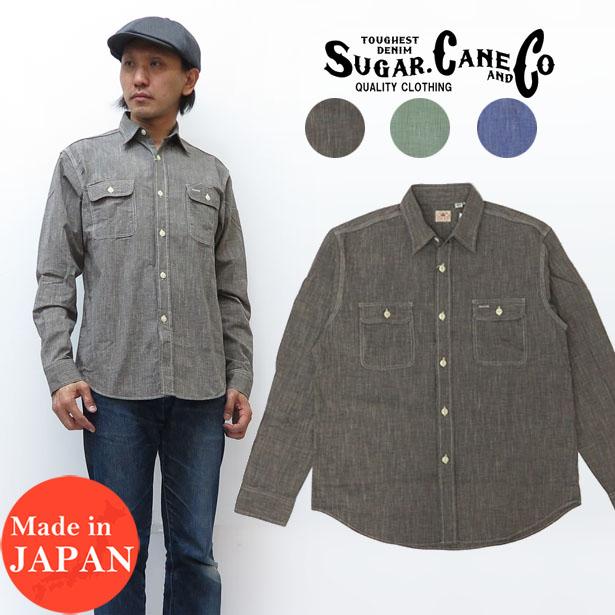 シュガーケーン SUGAR CANE 長袖 ピンチェック ワークシャツ シャンブレー SC28094