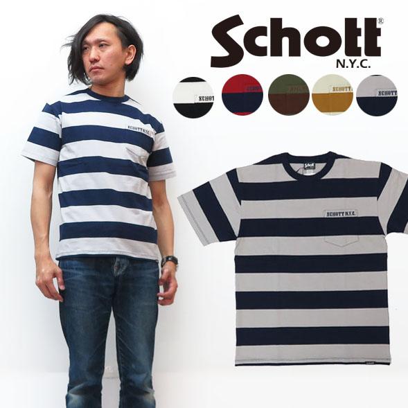 ショット Schott 半袖 ボーダー ポケット Tシャツ 3193067