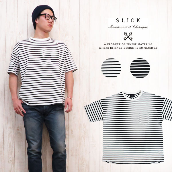 スリック SLICK Tシャツ 半袖 コットン ドロップ ショルダー ボーダー ルーズ 大きめサイズ 5255924