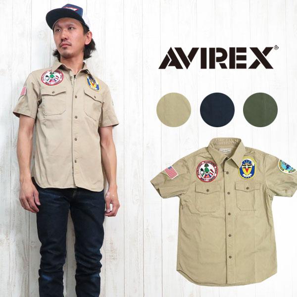 AVIREX アビレックス アヴィレックス ミリタリー 半袖 シャツ ワーク コットン ワッペン 刺繍 AVI6165121