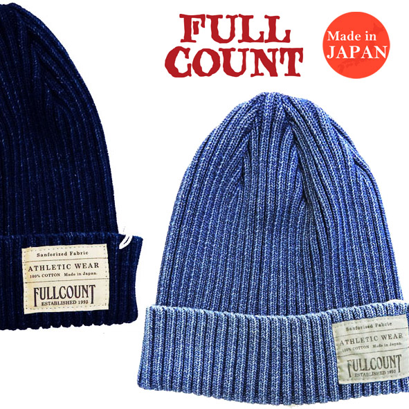 d5c724cd07c Full count FULLCOUNT cotton indigo rib watch cap knit cap INDIGO RIB WATCH  CAP 6817