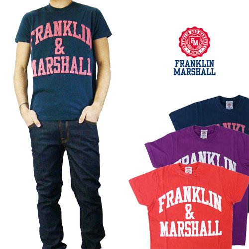 フランクリン マーシャル FRANKLIN&MARSHALL ヒビ割れフロッキープリントTシャツ ※セール価格につき返品・交換不可