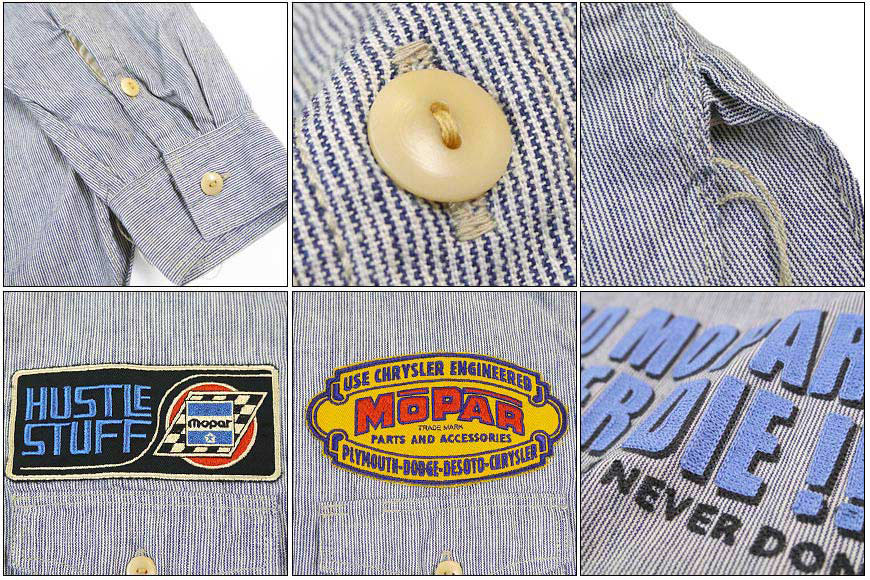 "f08006ba ... McCoy TOYS McCOY work shirt striped emblem ""HUSTLE STUFF""  MOPAR STRIPED WORK SHIRT"