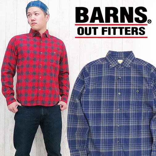 バーンズ BARNS 長袖シャツ ボタンダウン コットン ネルシャツ チェック シャツ BR-6930