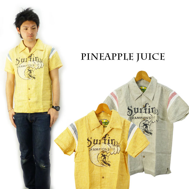 Pineapple Juice パイナップルジュース リネンオープンシャツ「CHAMPION チャンピオン Ship」